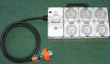 Power board - 32 Amp 3 phase supply with 6x 15 Amp  RCDBO protected outlets.
