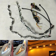 2x Car Switchback Headlight Tube Tear Eye LED White DRL& Amber Turn Signal Light