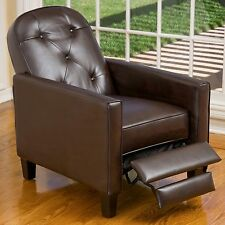 Modern Design Marbled Brown Leather Recliner Armchair w/ Tufted Accents