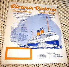 VINTAGE PAMPHLET VICTORIA VANCOUVER ISLAND 1955 PRINCESS ROUTES NANAIMO MAP