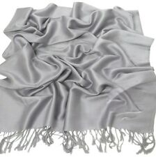 Silver Grey Solid Colour Design Shawl Pashmina Scarf Wrap Stole CJ Apparel *NEW*