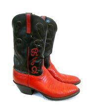 LUCCHESE Handmade Red Snakeskin & Black Leather SIZE 10 D Pair of COWBOY BOOTS