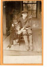 Real Photo Postcard RPPC - Boy and His Dog on Porch