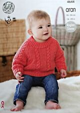 Baby KNITTING PATTERN Babies Long Sleeve Cable Jumper Aran King Cole 4644