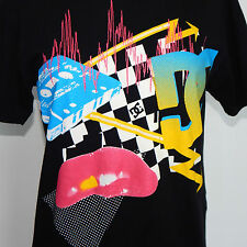 DC Totally 80's Retro New Wave Cassette Tape Checkerboard Lips Black T-Shirt S