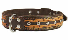 "Genuine Leather Dog Braided Studs Collar 1.75"" wide  22""-27"" neck XLarges Dogs"