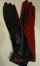 Ladies Long Genuine Leather Gloves Red/Black, S/M