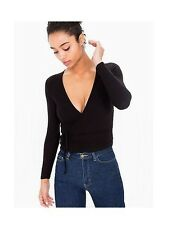 NWT American Apparel 2x2 Rib Ribbed Wrap Long Sleeve Ballet Top Black White XS,S