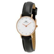 Daniel Wellington Classy Sheffield White Diamond Dial Black Leather women 0901DW