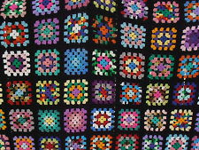 Vtg Wool Granny Square Afghan Throw Blanket Hand Crochet Rainbow Colors 90X60