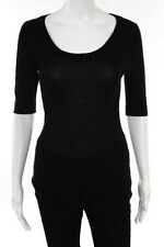 Donna Karan Collection Black Cashmere Short Sleeve Scoop Neck Sweater Size Small