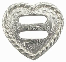 """Western Tack Set of 6 Bright Silver Plated Heart 1 1/2"""" Slotted Concho's"""