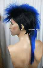 Quality MOHAWK Wig ..Unisex .. Black tipped in BLUE *