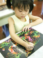 16K 10 Sheets Colorful Scratch Art Paper Painting Paper With Free Drawing Stick