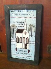Primitive Country Folk Art Love CHURCH SAMPLER Stitchery Willow Tree Alphabet