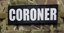 "3x8"" CORONER Black White Hook Back Morale Raid Patch Badge for Plate Carrier"