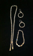 VINTAGE SIGNED KRAMER OF NEW YORK  RHINESTONE NECKLACE / BRACELET / EARRINGS SET