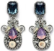 Purple Blue Crystal Large Statement Stud Dangle Drop Earrings Silver ToneUK Shop