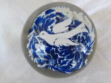 Antique Blue White Floral w/ Flying White Dove Olive Branch Paperweight 1900s