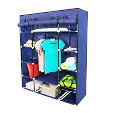 New Portable Closet Wardrobe Clothes Rack Storage Organizer With Shelf Blue