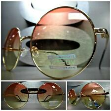 EXAGGERATED OVERSIZE VINTAGE Style SUN GLASSES Round Gold Frame Pink Yellow Lens