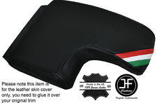 BLACK STITCH ITALIAN FLAG ARMREST LID LEATHER COVER FITS ALFA ROMEO 159 05-11