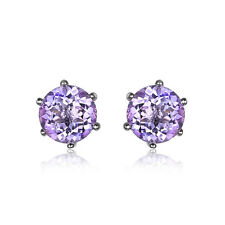 Jewelrypalace Round Natural Amethyst Earring Stud 925 Sterling Silver Fashion