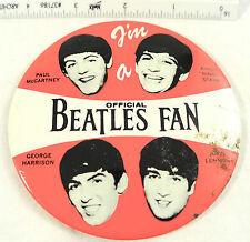 """Vintage Official Beatles Fan Pinback Button 1964  4"""""""