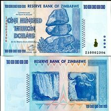 100 TRILLION ZIMBABWE ZA DOLLAR  Replacement MONEY CURRENCY.UNC, 10 20 50.