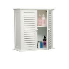 Porte double battant deux salle de bain blanc étagère mural style armoire de rangement