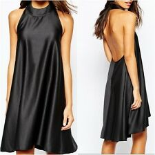 Never Fully Dressed Satin Halterneck Dress With Low Back Blk UK 12 US 8 (ca892)