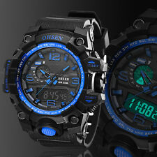 Mens Digital Analog Sport Quartz Military Army Watch Chronograph Waterproof Blue