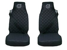 Volvo FH12 , FH16 Truck Seat Covers 2 piece (1+1) BLACK with GRAY LOGO