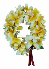 Hawaiian Lei Party Luau Haku Elastic Plumeria Silk Fabric Flower Yellow White EG