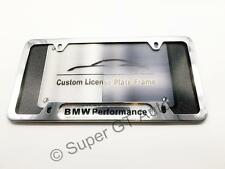 Chrome BMW PERFORMANCE M POWER License Plate Frame Holder Emblem 135i 650i 335i
