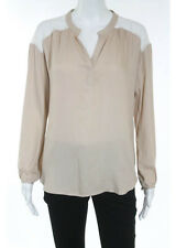 NWT ELLA MOSS Nude White Lightweight Lace Back Long Sleeve Blouse Top Sz XS $168