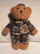 """Plush Stuffed Bear Removable Army Camouflage Outfit w/Yellow Ribbon 9"""" Military"""