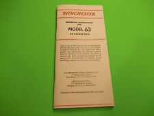 Winchester Owners Instructions for Model 63 semi auto .22 Caliber Rifle  35 page