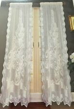 Nantucket Christmas Tree White Lace Window Curtain Panel 63L NEW
