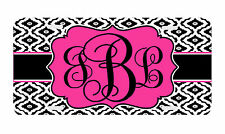 Personalized Monogrammed License Plate Auto Car Tag Wavy Diamond Pattern Pink