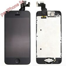 TOUCH SCREEN LCD DISPLAY RETINA  BUTTON PER APPLE IPHONE 5c NERO VETRO SCHERMO