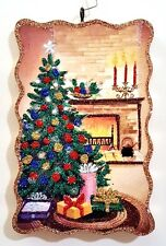 COZY ROOM w/ DECORATED TREE & FIREPLACE * Glitter CHRISTMAS ORNAMENT * Vtg Img