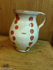 Early Terra Cotta Jug ~ Cream with Slip Dots Decoration ~Antique and Original