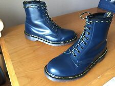 Vintage Dr Martens 1460 blue navy leather boots UK 9 EU 43 skin biker England