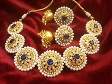 Indian Bollywood Gold Plated Kundan Rhinestone Bridal Necklace Earrings Jewelry