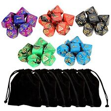 Outee 5 x 7 (35 Pieces) Polyhedral Dice with 5 Complete Dice set for Dungeons