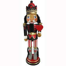Christmas Nutcracker Figure Soldier King of Hearts in Red and Black Wood N1011