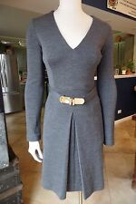 MILLY Gray Wool Blend Long Sleeve Belted Sheath Dress P