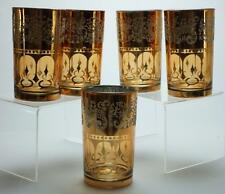 Lot of 5 Gold Gilded Mixed Drink Glasses possibly Culver Unbranded KC191