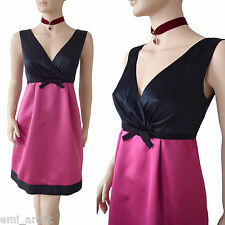 DOLCE & GABBANA D&G retro pink black satin empire line bow DRESS size 10 6 42
